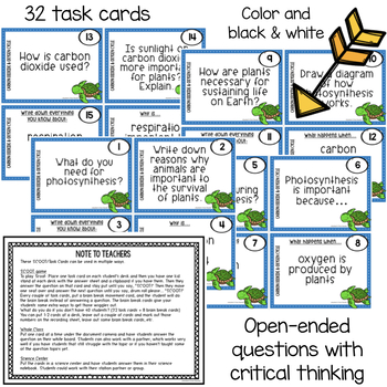 Carbon Dioxide & Oxygen Cycle Scoot Game/Task Cards