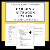 Carbon & Nitrogen Cycle Test, Worksheet or Review