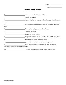 Carbon in Life and Materials Quiz or Worksheet for Physical Science