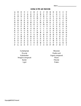 Carbon in Life and Materials Vocabulary Word Search for Physical Science