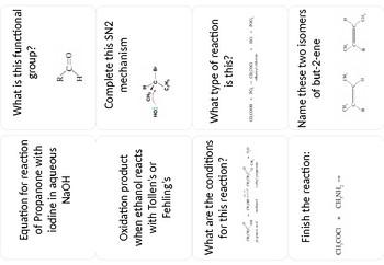 Carbonyl chemistry cue cards