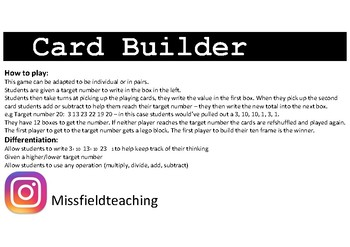 Card Building: TEN activity