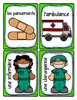 French Word Wall Card Collection - À L'HÔPITAL