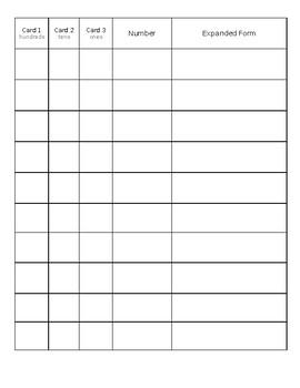 Card Flip Game for 3-Digit Number Expanded Form