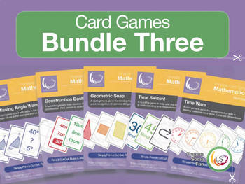 Angles, Shapes, Time and Construction - 5 Card Games Bundle 3