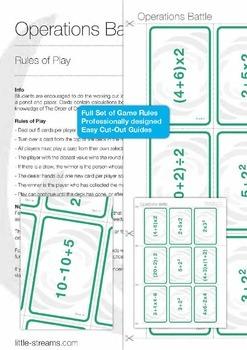 Card Game Bundle 4   5 Games for Basic Math - Algebra, Probability, etc.