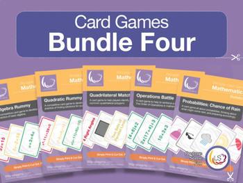 Card Game Bundle 4 | 5 Games for Basic Math - Algebra, Pro