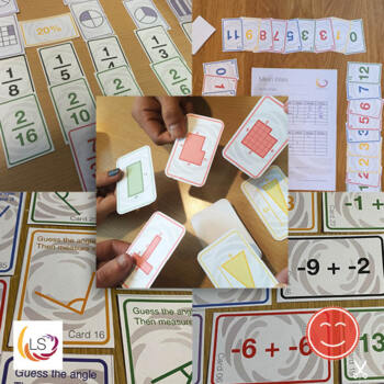Fractions, Averages, Area, Angles, Negative Numbers - 5 Card Games Bundle 1