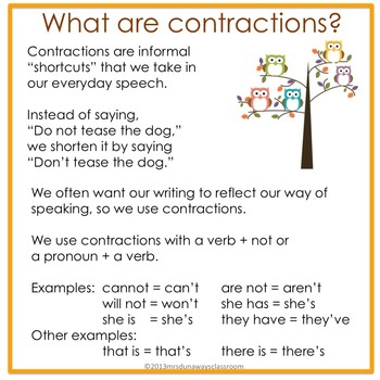 """Card Game:  """"Whoo"""" can make contractions?"""