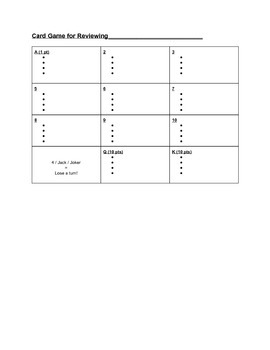 Card Game for Reviewing Vocabulary