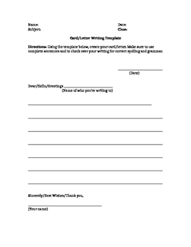 Card/Letter Writing Template