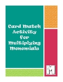 Card Match Activity for Multiplying Monomials