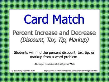 Card Match: Percent Increase and Decrease (Discount, Tax, Tip, Markup)