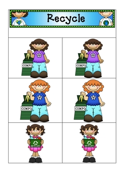 Card Matching- Earth Day Recycle