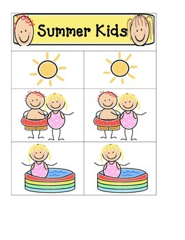 Card Matching- Summer Kids