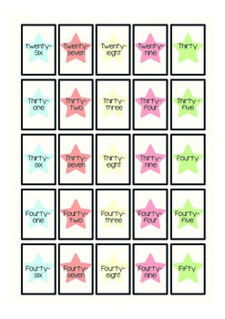 Card Number Game - Matching the number with its word name 1 - 50
