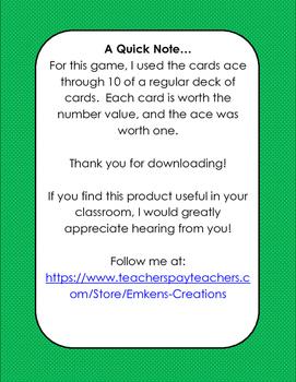 Card Sharks Addition Game