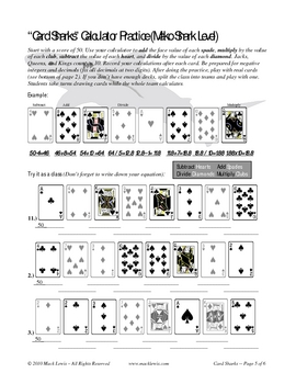 Card Sharks Math Game