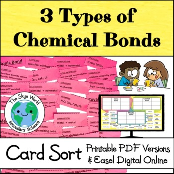 Card Sort 3 Types Of Chemical Bonds By The Skye World Science Tpt