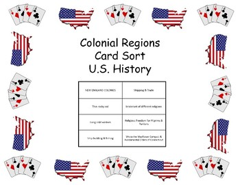 Card Sort - Colonial Regions of United States