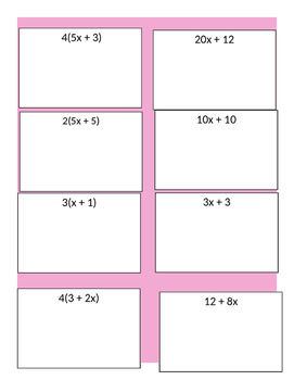 Card Sort Equivalent Algebraic Expressions using the Distributive Property