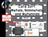 Card Sort Metals Nonmetals Metalloids  TEKS 6.6A