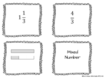 Card Sort Mixed Numbers, Improper Fractions and Models TEK 5.2B