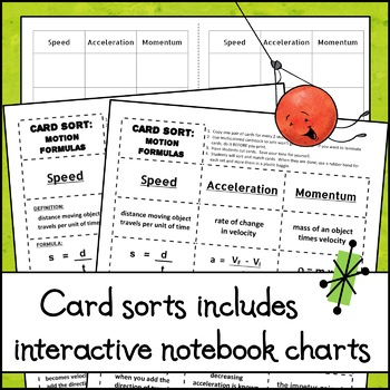 Card Sort - Motion Formulas - Speed, Acceleration, and Momentum