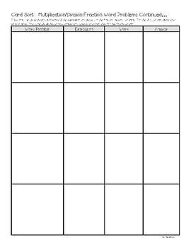 Card Sort:  Multiplication/Division Fraction Word Problems