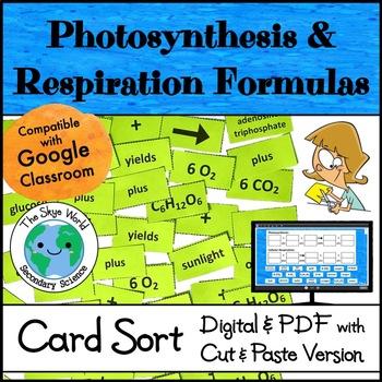 Card Sort - Photosynthesis & Cellular Respiration Formulas
