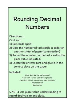 Card Sort Rounding Decimal Numbers