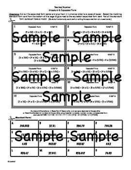 5.NBT.3 Decimal Number Card Sort (Standard & Expanded)