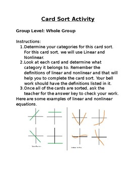 Card Sort Station Activity Directions