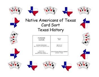 Card Sort - Texas History - Native Americans of Texas