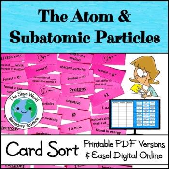 Card Sort - The Atom & Subatomic Particles