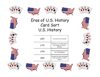 Card Sort - U.S. History Eras