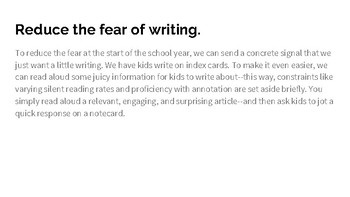 Card Talk: Helping kids feel comfortable with writing in the content areas