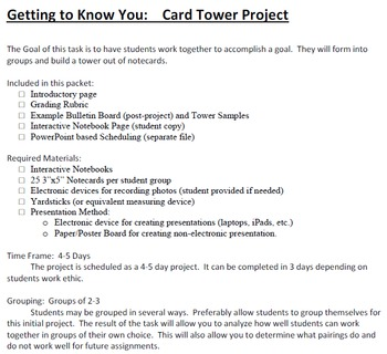 Card Tower Getting to Know You Project