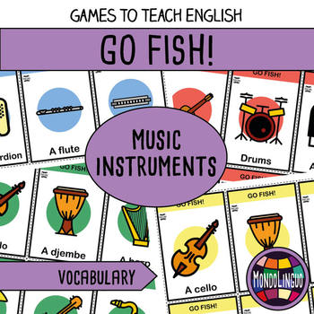 Card game to teach English/ESL: Go Fish about music instruments