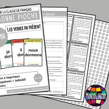 Card game to teach French/FFL/FSL: Bonne pioche - Dormir/To sleep