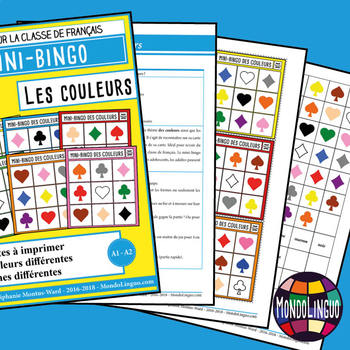 Card game to teach French/FFL/FSL: Mini-Bingo des couleurs/Bingo about colors