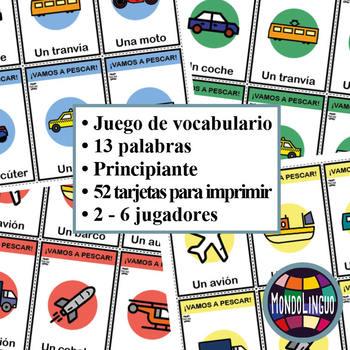Card game to teach Spanish/ELE: Vamos a pescar - Medios de transporte