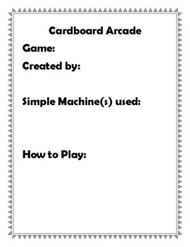 Cardboard Arcade: Simple Machines Activity