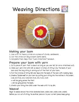cardboard loom yarn weaving directions template by art room window