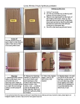 Cardboard loom woven pouch