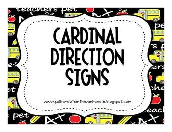 Cardinal Direction Classroom Signs