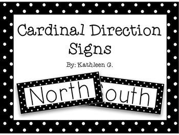 Cardinal Direction Signs in Polka Dots