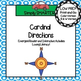 Cardinal Directions Emergent Reader Book AND Interactive Activities