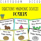 Cardinal Directions Mnemonic Devices Posters