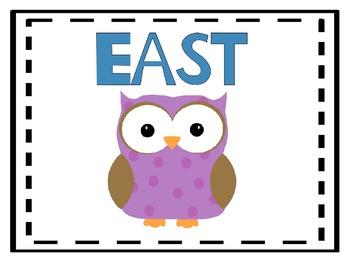 Cardinal Directions Poster-Owl Theme